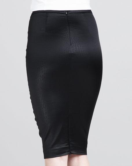 Crocodile-Embossed Pencil Skirt
