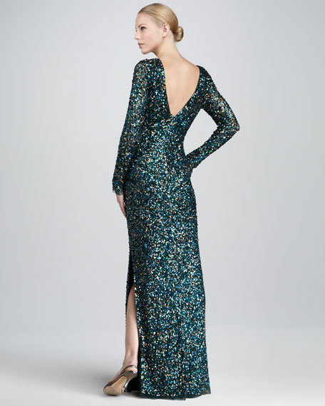 Sequined Bateau Gown