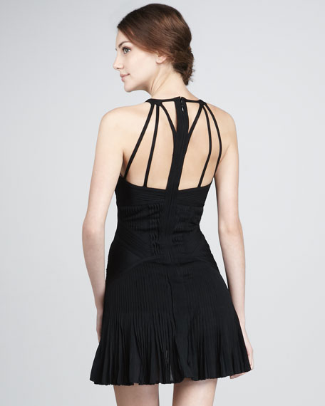 Strappy-Chest Fluted Dress