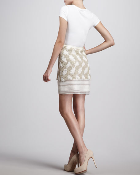 Tiered Guipure-Lace Skirt