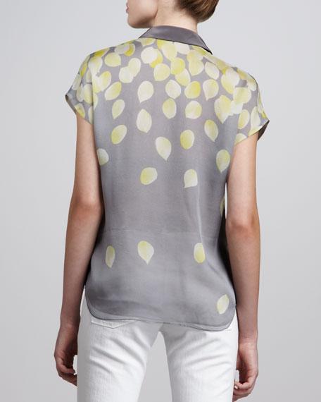 Petal-Print Chiffon Shirt