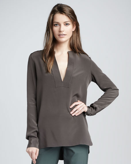 Trapunto-Placket Top, Elephant