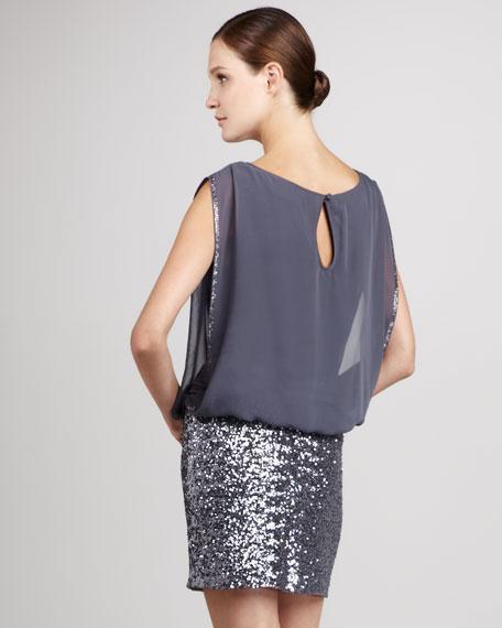 Bead-Skirt Blouson Dress, Women's