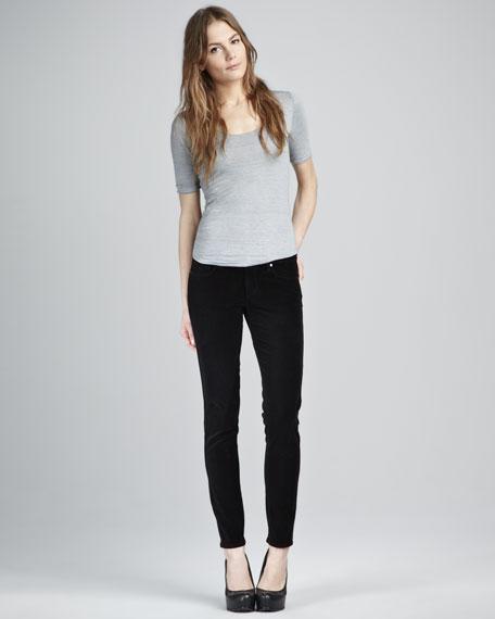 Verdugo Black Velvet Skinny Jeans