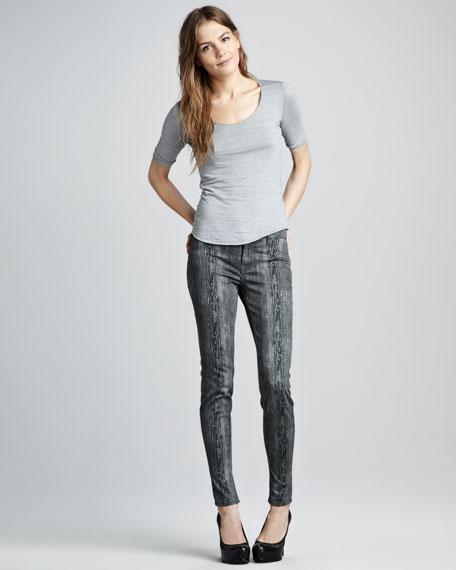 801 Woodgrain Printed Skinny Jeans