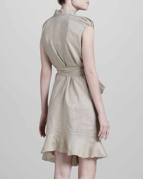Asymmetric Cotton Dress, Natural