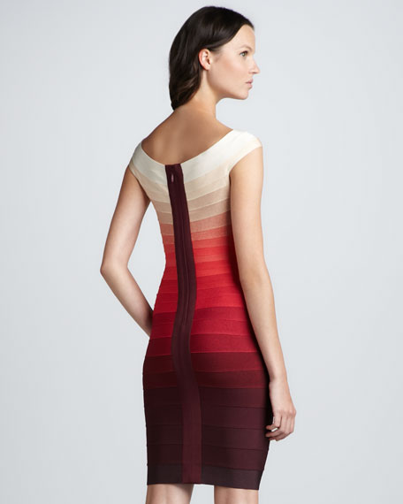 Ombre-Stripe Cap-Sleeve Bandage Dress
