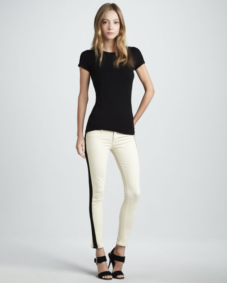 Leelou Bone Leather Colorblock Cropped Jeans
