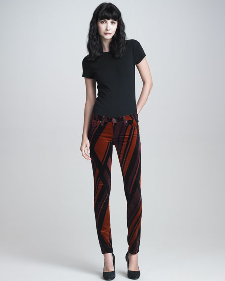 Super Skinny Red Prism-Print Velvet Leggings