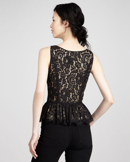 Lace V-Neck Peplum Top