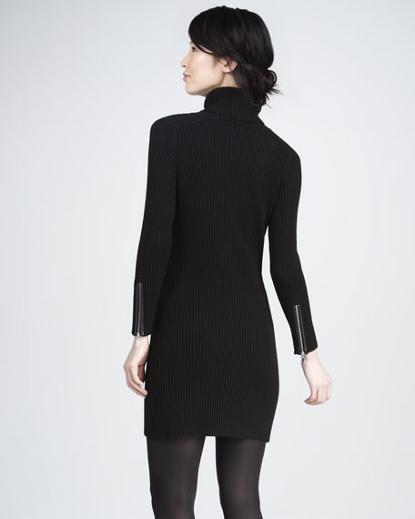Ribbed Sweaterdress with Leather Pockets