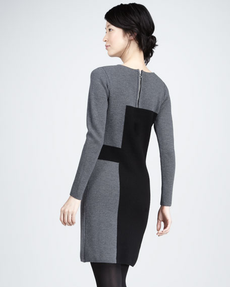 Paneled Intarsia Sweaterdress