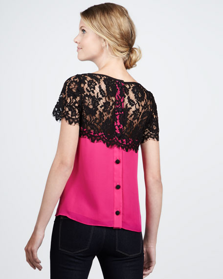 Mila Lace-Top Blouse, Fuchsia