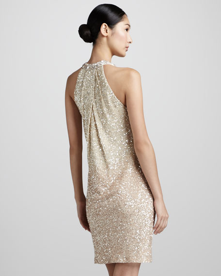 Ombre-Sequin Halter Cocktail Dress