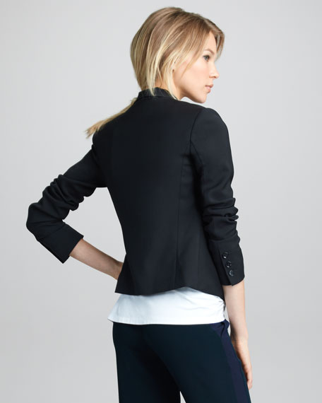 Cropped Crepe Blazer