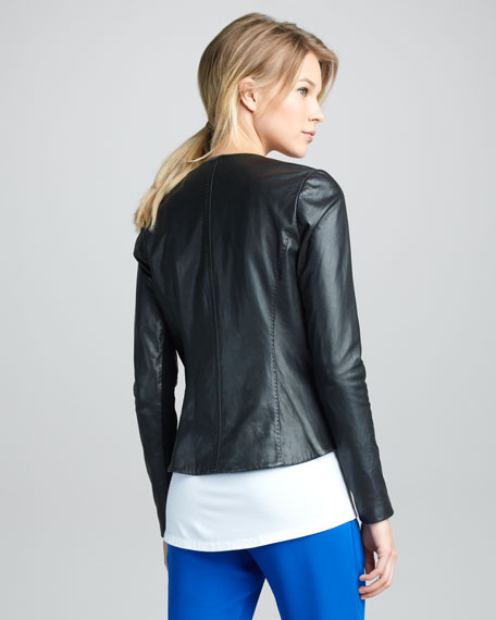 Zigzag-Trim Leather Jacket