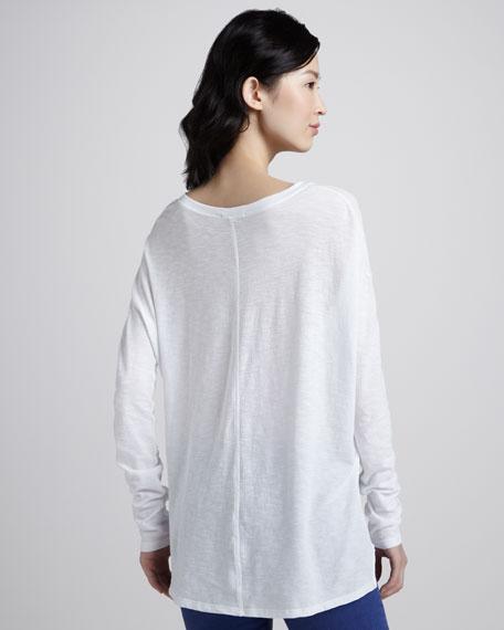 Long-Sleeve Slub Tee, White