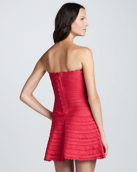 Strapless Bandage Minidress with Scalloped Accents