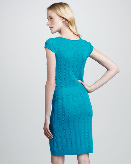 Cable-Knit Chain Dress, Aqua
