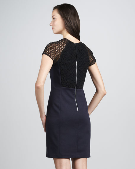 Lace-Back Ponte Dress