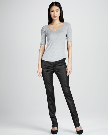Abby-Skinny Leather-Coated Jeans, Black