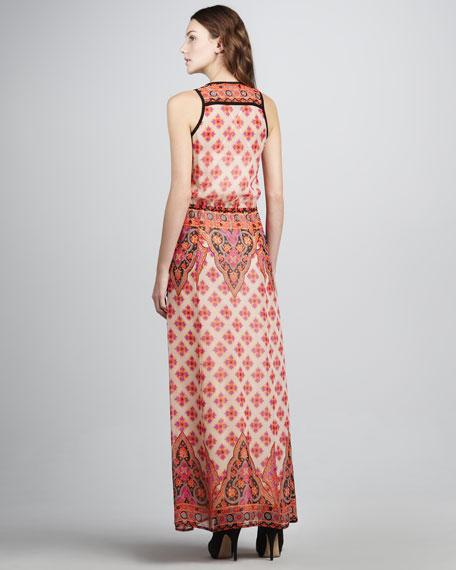 Electrifying Printed Silk Maxi Dress