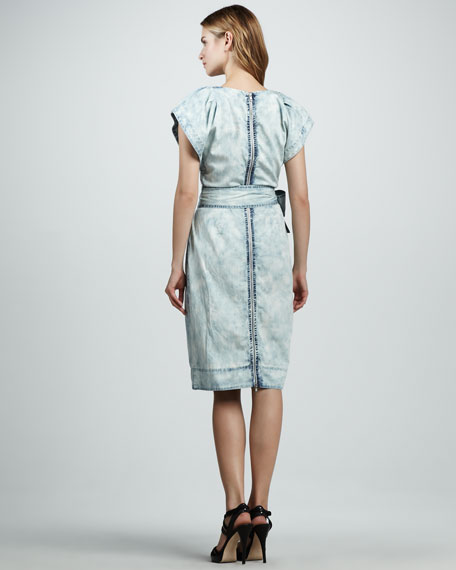 Rebecca Taylor Chambray Fluted-Sleeve Dress