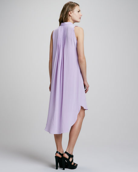 Sleeveless Pintucked Shirtdress