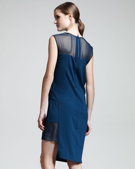 Fluid Crepe Illusion Dress