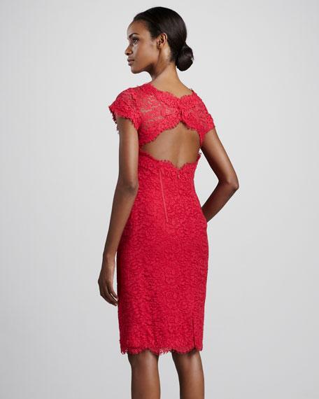 ML Monique Lhuillier Lace Sheath Cocktail Dress