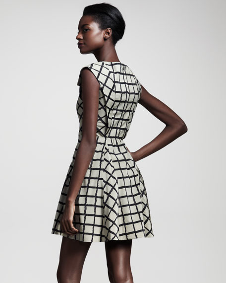 Lorie Windowpane-Check Dress