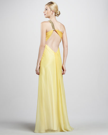 Beaded-Strap One-Shoulder Gown