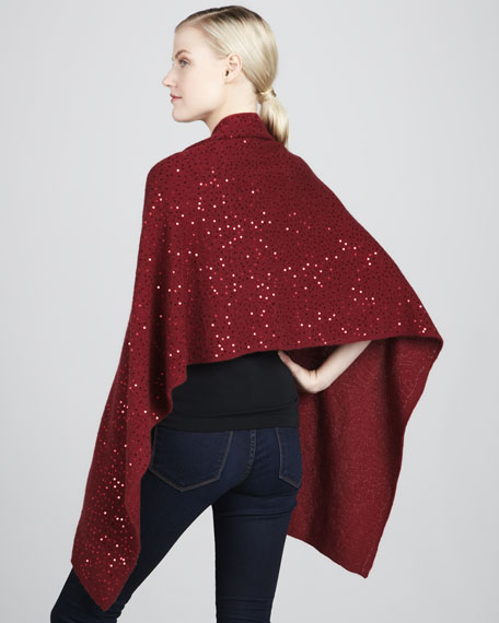 Sequined Cashmere Shawl Top, Women's