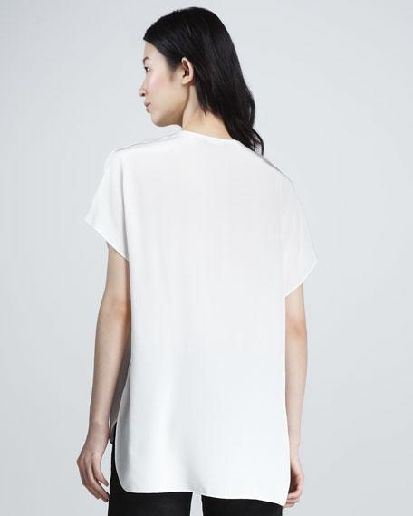 Split-Neck Silk Top