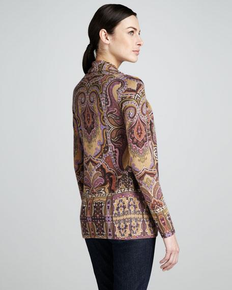 Paisley-Pattern Open Cardigan