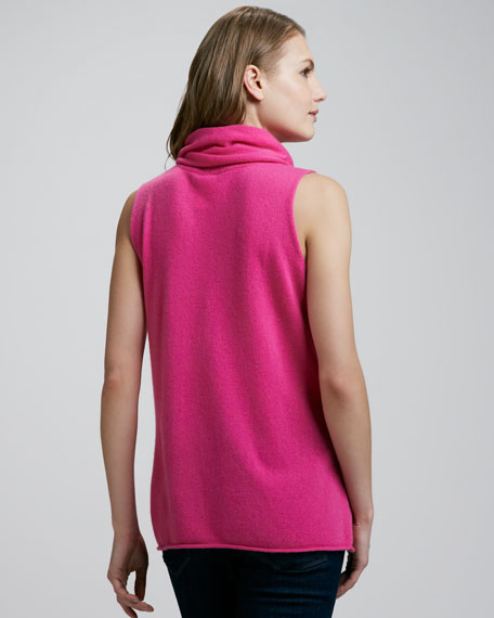 Sleeveless Cowl-Neck Cashmere Top
