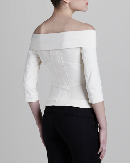 Off-the-Shoulder Racer Jacket