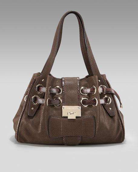 Embossed Rikki Shoulder Bag
