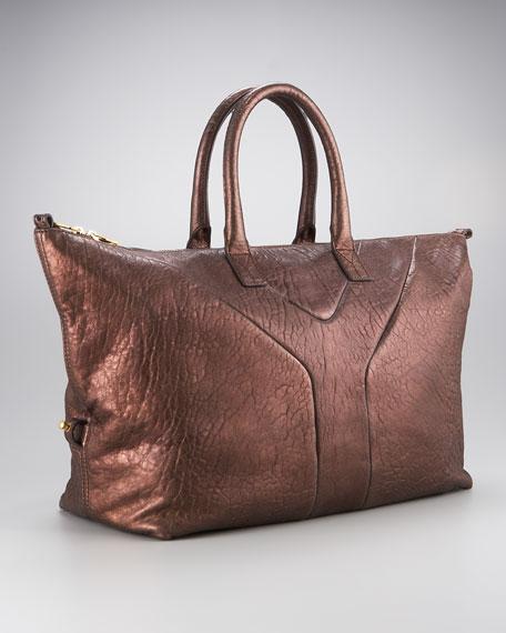 Metallic Zip Top Bowler Bag