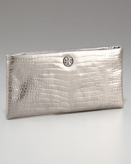 Lily Crocodile-Embossed Clutch