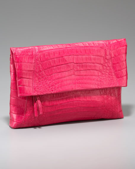 Crocodile Flap-Top Clutch