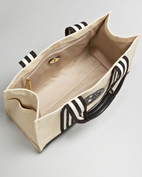 Striped Twill Tory Tote