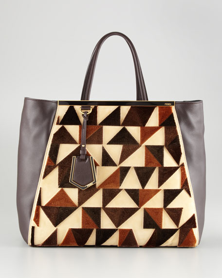 2Jours Cut-Velvet Pattern Leather Tote Bag