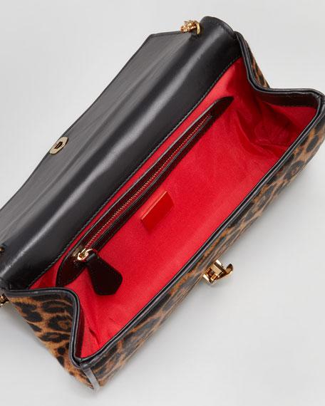 Alina Leopard-Print Calf Hair Clutch Bag
