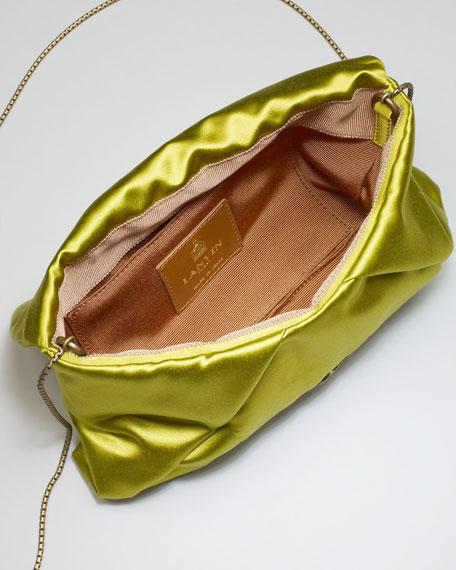 Mai Tai Flower-Front Satin Clutch Bag, Green