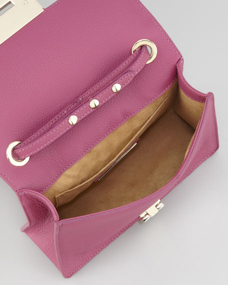 Rebel Leather Crossbody Bag, Purple