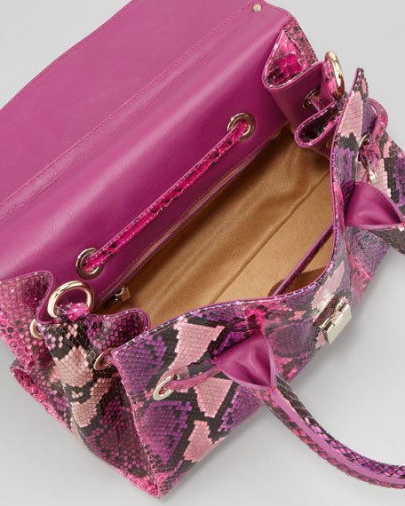Rosalie Small Python Satchel Bag, Pink Mix