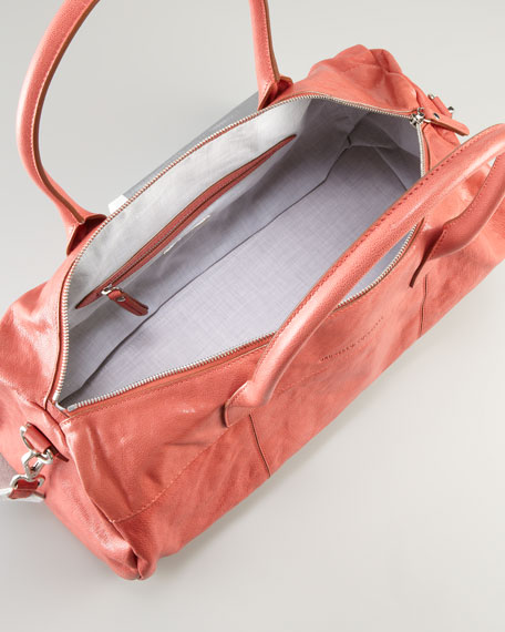 Shiny Kidskin Duffel Bag, Red
