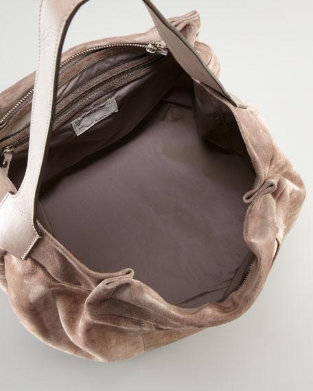 Suede Bucket Hobo, Cocoa