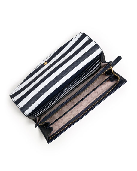 Large Inside-Stripe Saffiano Wallet